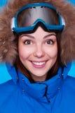 Esquiador feliz con la máscara Imagen de archivo libre de regalías
