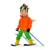 Esquiador feliz pequeno Conceito dos esportes ilustração do vetor