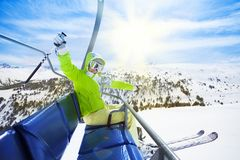 Esquiador feliz, salido Imagen de archivo libre de regalías