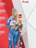 Esquiador Nina Loeseth de Nowegian en el podio Imagen de archivo