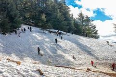 Esquiador que esquía cuesta abajo en nieve fresca del polvo con el sol y las montañas Foto de archivo