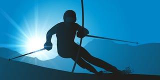 Esquiador que passa uma porta durante uma corrida do slalom ilustração do vetor