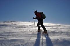 Esquiador que viaja alpestre solo imagen de archivo