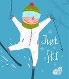 Esquiador Rider Jump Fun Poster Design libre divertido Fotos de archivo