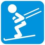 Esquiador, silhueta branca no quadro azul, ícone do vetor Ilustração do Vetor