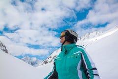 Esquiador, Solden, Austria, deporte de invierno extremo imagen de archivo