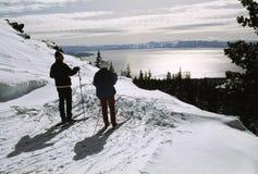 Esquiadores de Lake Tahoe Imagen de archivo libre de regalías