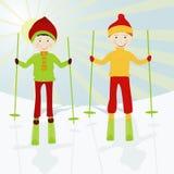 Esquiadores del cabrito Imágenes de archivo libres de regalías