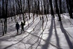 Esquiadores del campo a través Foto de archivo libre de regalías