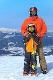 Esquiadores do pai e do filho Fotografia de Stock