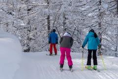 Esquiadores em montanhas dos cumes Fotografia de Stock Royalty Free