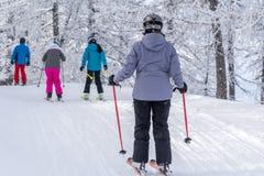 Esquiadores em montanhas dos cumes Imagem de Stock Royalty Free