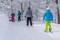 Esquiadores em montanhas dos cumes Fotos de Stock