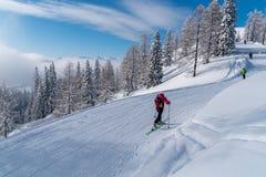 Esquiadores em montanhas dos cumes Imagens de Stock Royalty Free