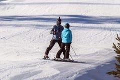 Esquiadores em uma reunião Fotografia de Stock