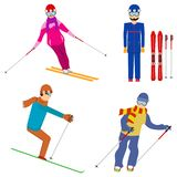 Esquiadores, esquiadores em várias poses Estância de esqui ilustração do vetor