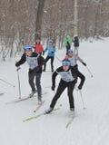 Esquiadores en la raza de esquí Fotografía de archivo libre de regalías