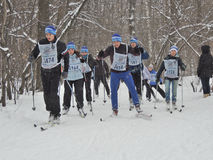 Esquiadores en la raza de esquí Fotos de archivo libres de regalías