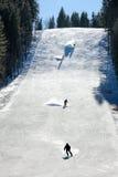 Esquiadores en un piste Imágenes de archivo libres de regalías