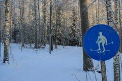Esquiadores esta maneira! imagem de stock royalty free