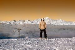 Esquiadores listos para montar, Courchevel, Francia Imagen de archivo libre de regalías