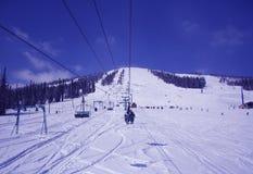 Esquiadores na telecadeira Imagem de Stock Royalty Free