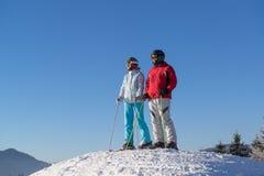 Esquiadores que miran las montañas del invierno imágenes de archivo libres de regalías