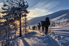 Esquiadores que van abajo de la cuesta en la puesta del sol Foto de archivo libre de regalías
