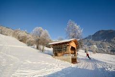 Esquiando em uma paisagem do inverno com celeiro de madeira, cumes de Pitztal - Tirol Áustria Foto de Stock Royalty Free