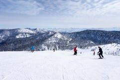 Esquiando en la montaña grande en el pescado blanco, Montana Foto de archivo libre de regalías
