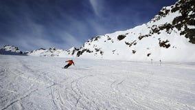 Esquiando na geleira de Pitztal, cumes de Otztal, Áustria fotografia de stock