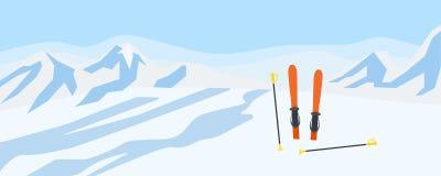 Esquie no fundo do conceito da neve das montanhas, estilo liso ilustração do vetor