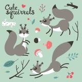 esquilo bonito dos desenhos animados Esquilos engraçados pequenos Ilustração do vetor ilustração do vetor