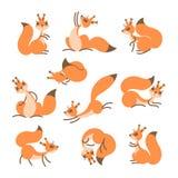 esquilo bonito dos desenhos animados Esquilos engraçados pequenos Ilustração do vetor ilustração royalty free