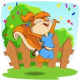 Esquilo bonito dos desenhos animados na mosca do salto com fundo Fotografia de Stock