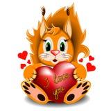Esquilo com coração do amor Imagem de Stock Royalty Free
