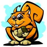 Esquilo com ilustração do vetor da noz Imagens de Stock Royalty Free