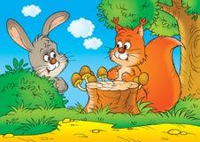 Esquilo e coelho Imagem de Stock