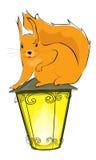 Esquilo e lanterna Fotografia de Stock