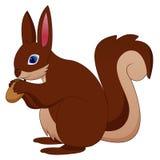 Esquilo engraçado dos desenhos animados que guarda o cone do pinho ilustração do vetor