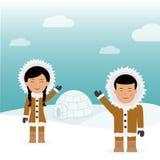 Esquimós masculinos e fêmeas do caráter Viagem do fundo do conceito a Gronelândia Cumprimento amigável dos esquimós perto da casa Imagem de Stock