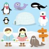 Esquimal, Polo Norte, animales del ártico de la gente del Inuit Stock de ilustración