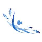 Esquina azul del estilo de la acuarela del añil diseñe el elemento para casarse la invitación, decoración de la tarjeta Fotos de archivo