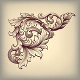 Esquina barroca del marco del vintage del vector adornada Imagen de archivo libre de regalías