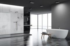 Esquina blanca y negra del cuarto de baño, tina libre illustration