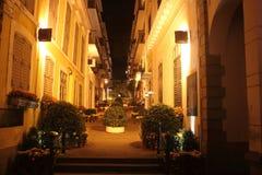 Esquina da rua da noite de Macau Imagem de Stock Royalty Free