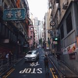 Esquina da rua de Hong Kong Foto de Stock