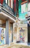 Esquina de calle en colores vivos Imagen de archivo