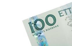 Esquina de cientos billetes de banco de la corona sueca Imagen de archivo libre de regalías