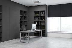 Esquina de despacho de dirección gris con los estantes para libros libre illustration